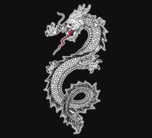 Dragon, Snake, Oriental, Far East, on Black One Piece - Long Sleeve