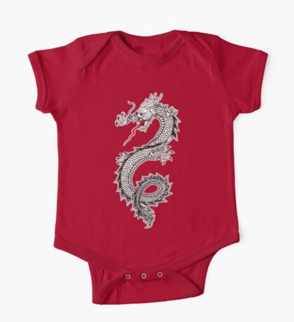 Dragon, Snake, Tattoo, Symbol, Chinese, Oriental, Far East, on Black One Piece - Short Sleeve