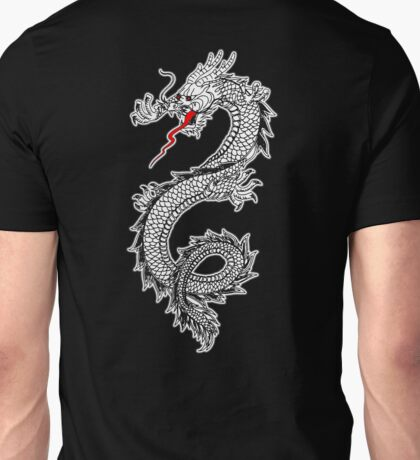 Dragon, Snake, Tattoo, Symbol, Chinese, Oriental, Far East, on Black Unisex T-Shirt