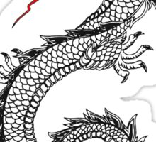 Dragon, Snake, Tattoo, Symbol, Chinese, Oriental, Far East, on Black Sticker
