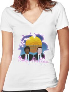 80s Inspired Pulp Fiction Women's Fitted V-Neck T-Shirt