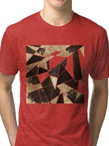 Modern Rustic Black White and Faux Gold Geometric Tri-blend T-Shirt