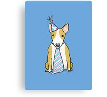 Party Hat Puppy Dog - English Bull Terrier Canvas Print