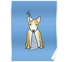Party Hat Puppy Dog - English Bull Terrier Poster