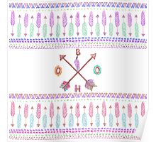 Boho Typogrpahy Tribal Aztec Feather Arrow Pattern Poster