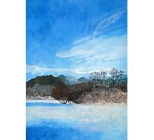 Blue Landscape Acrylic Painting Photographic Print