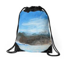 Blue Landscape Acrylic Painting Drawstring Bag