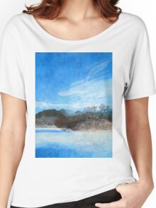 Blue Landscape Acrylic Painting Women's Relaxed Fit T-Shirt