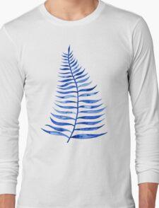 Navy Palm Leaf Long Sleeve T-Shirt