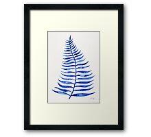 Navy Palm Leaf Framed Print