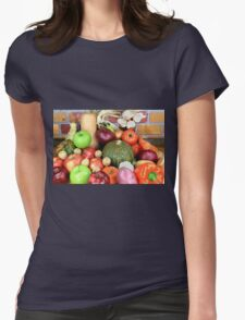Vegetables and Fruits. Womens Fitted T-Shirt