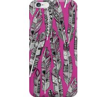 geo feathers hot pink iPhone Case/Skin