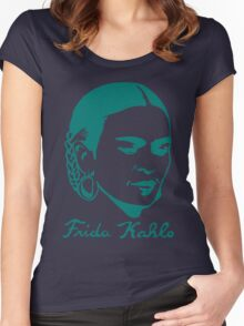 Frida Kahlo w/ Real Signature Digitized Women's Fitted Scoop T-Shirt