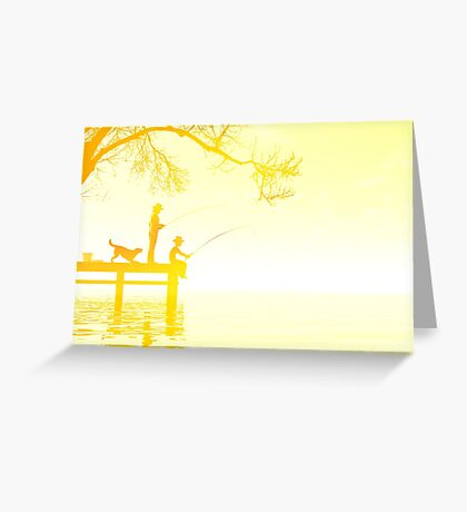 Father and son fishing Greeting Card