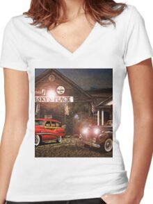Pesky's Place Women's Fitted V-Neck T-Shirt