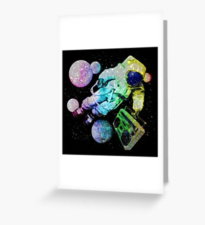 Boombox Space Man Rainbow Color Greeting Card