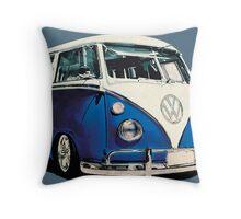 VW Bus Cool Blue Throw Pillow