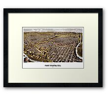 Perspective map of Fort Worth, Texas - 1891 Framed Print