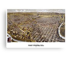 Perspective map of Fort Worth, Texas - 1891 Metal Print