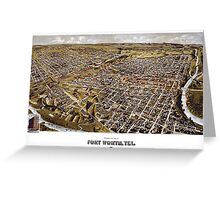 Perspective map of Fort Worth, Texas - 1891 Greeting Card
