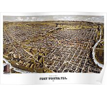 Perspective map of Fort Worth, Texas - 1891 Poster