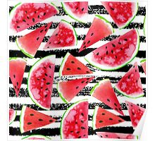 Watercolor watermelons Poster