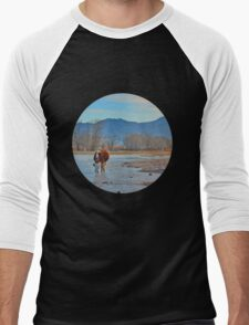 Mountain village winter brook Men's Baseball ¾ T-Shirt