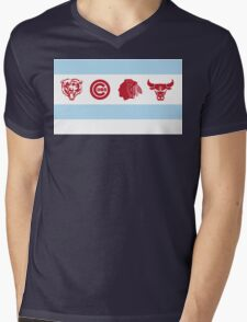 Chicago Sports Flag Mens V-Neck T-Shirt