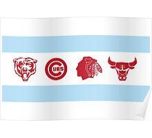 Chicago Sports Flag Poster