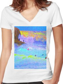 Psychedelic Surf with Alien on a rock. Women's Fitted V-Neck T-Shirt