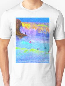Psychedelic Surf with Alien on a rock. Unisex T-Shirt
