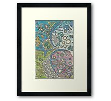 Abstract  Underwater Jellyfish Drawing Framed Print