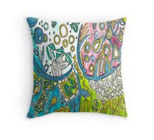Abstract  Underwater Jellyfish Drawing Throw Pillow