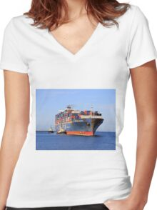 Lamartine container ship Women's Fitted V-Neck T-Shirt