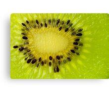 Green Kiwi Fruit Slice Fresh Slices Kiwis Canvas Print