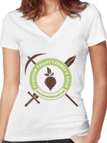 Stardew Valley Farmer's Guild Crest Women's Fitted V-Neck T-Shirt