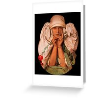 Woman with Red Flower Greeting Card