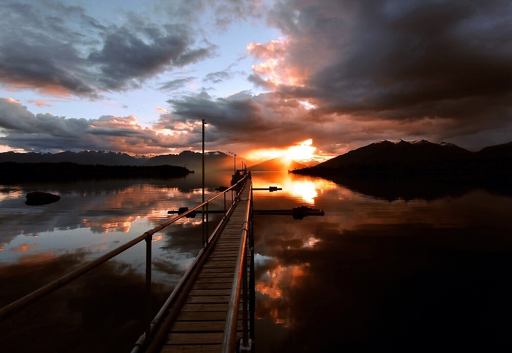 Lake Te Anau Sunset. New Zealand by Ralph de Zilva
