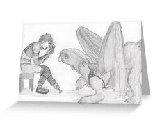 Curious Toothless and Hiccup Greeting Card