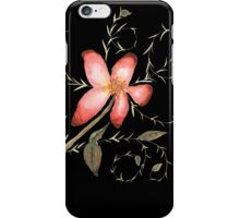 Watercolor floral 1 on black iPhone Case/Skin
