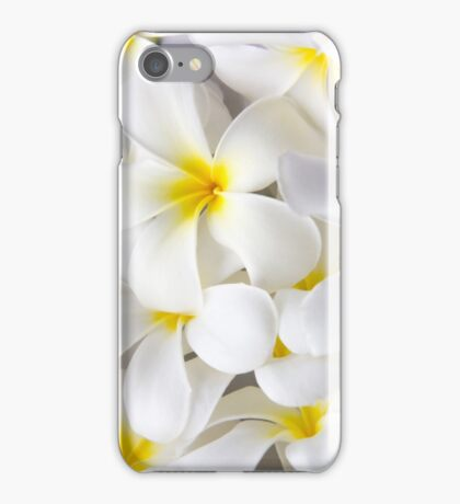 White Plumeria Tropical Frangipani Flowers iPhone Case/Skin