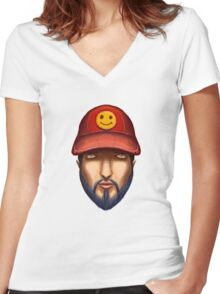 Bearded Man With a Red Cap Yellow Smiley Women's Fitted V-Neck T-Shirt