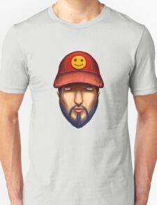 Bearded Man With a Red Cap Yellow Smiley Unisex T-Shirt