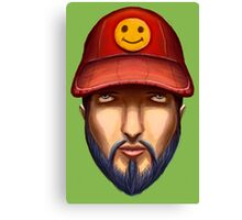 Bearded Man With a Red Cap Yellow Smiley Canvas Print