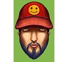 Bearded Man With a Red Cap Yellow Smiley Photographic Print