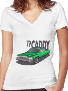 1979 Cadillac Coupe de Ville Women's Fitted V-Neck T-Shirt