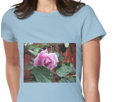 Tender Rose with Raindrops Womens Fitted T-Shirt