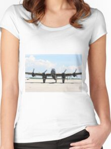 Four Engine Avro Lancaster with  started engines ready for start. Women's Fitted Scoop T-Shirt