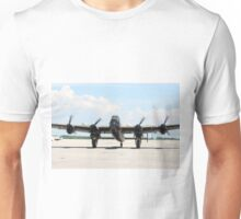 Four Engine Avro Lancaster with  started engines ready for start. Unisex T-Shirt