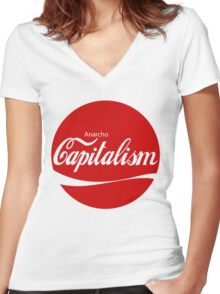 Anarcho Capitalism Design 1 Women's Fitted V-Neck T-Shirt